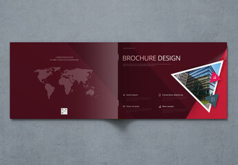 Landscape Dark Business Report Cover Layout with Triangles