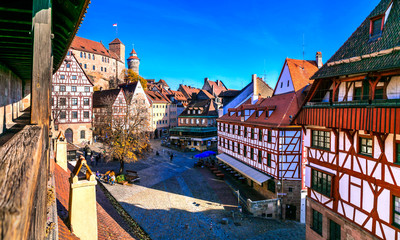 old town of medieval Nuremberg with traditional architecture, view from city wall. Travel in Germany Fototapete