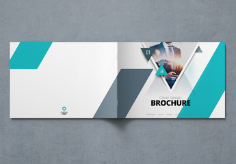 Landscape Teal Business Report Cover Layout with Triangles