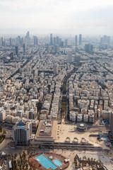 Tel Aviv Skyline Israel Stadt Luftbild Hochhäuser Hochformat