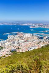 Gibraltar Landschaft Hafen Port Meer Mittelmeer Urlaub Hochformat Übersicht Stadt