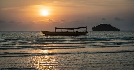 sunset sun over the warm sea