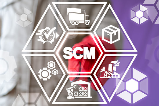 SCM industrial logistics concept. ERP industry. Inventory manufacturing goods. Supply chain management manufacture concept.