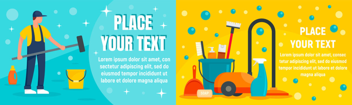 Cleaner equipment banner set. Flat illustration of cleaner equipment vector banner set for web design