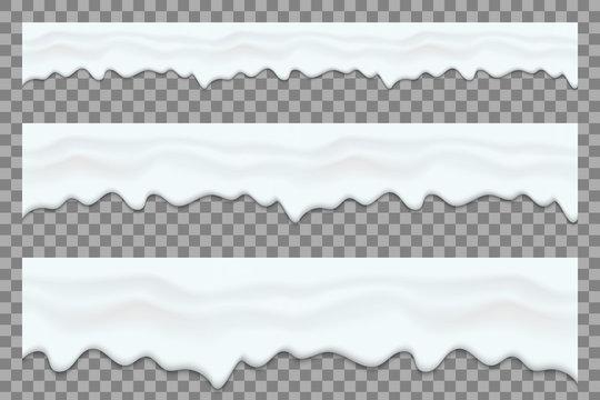 Creative vector illustration of yogurt creamy liquid drips, cream melt milk splash flowing seamless wide background with transparent. Art design sweet dessert flow layers. Abstract concept element