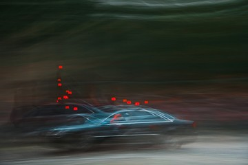 Dark police car with red beacon on -Abstract Expressionism Impressionism.