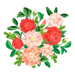 Camellia bouquet icon. Cartoon of camellia bouquet vector icon for web design isolated on white background
