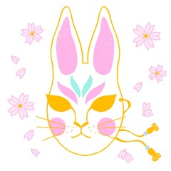 hanami sakura japanese rabbit mask