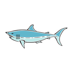 White shark character abstract ink hand drawn vector logo cartoon. Simplified color illustration. Ocean blue. Sea animal curve paint sign. Doodle sketch. Element for design, wallpaper, fabric print.