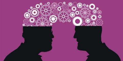 Concept du transfert de connaissance entre deux générations avec comme symbole, des engrenages qui passent d'un cerveau d'un senior à celui d'un jeune.
