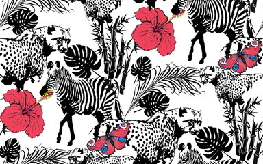 Pattern of zebra and leopardand. Suitable for fabric, wrapping paper and the like. Vector illustration