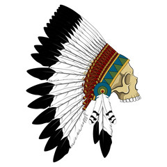 Skull in a crown of feathers. Color vector image of the skull of an Indian.