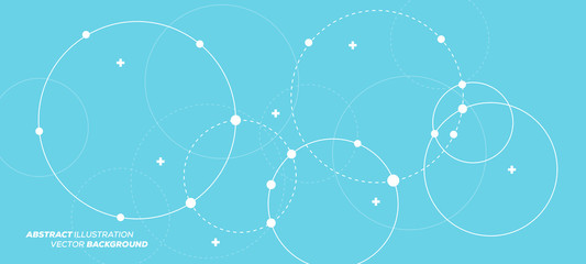 Abstract vector illustration with overlapping circles, dots and dashed circles. Science and connection concept. Wide molecule structure background. Wall mural