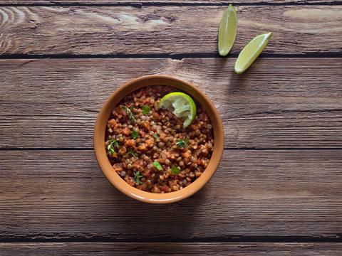Lentil stew. Vegan lentil Bolognese. Diet food.
