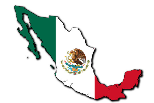 Mexico flag map. Isolated. 3D illustration.