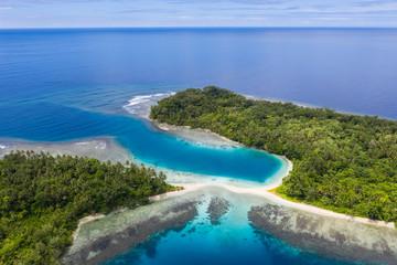 Aerial of Beautiful Islands, Reef, and Beach in Papua New Guinea