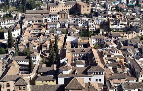 Aerial view of Albayzin (Albaicin) old and historical moorish