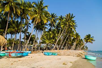 Woven Vietnamese fishing basket boats sea landscape