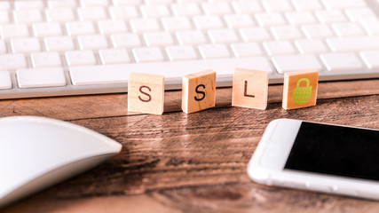 Letters on wooden pieces : SSL