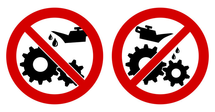 Do not lubricate / oil icon. Gear cogwheels with oilcan in red crossed circle, left and right version