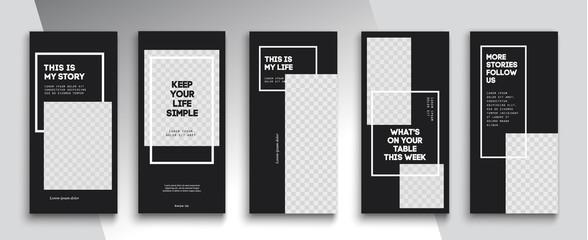 Obraz Trendy editable Instagram Stories template. Design  for social media. Tiktok - fototapety do salonu