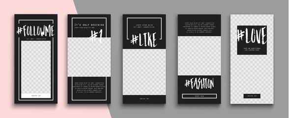 Trendy editable Instagram Stories template. Design  for social media. Tiktok