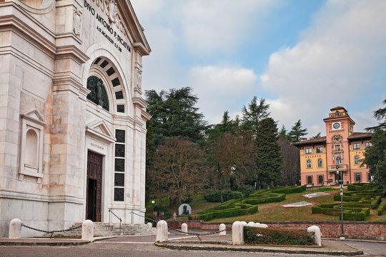 Predappio, Emilia-Romagna, Italy: the church and the ancient city hall Palazzo Varano, where he Lived Benito Mussolini