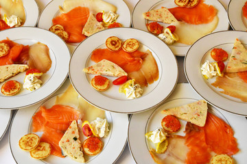 Verneuil sur Seine; France - may 17 2017 : smoked salmon