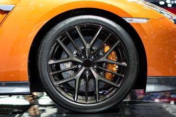 Sport car wheels and break.