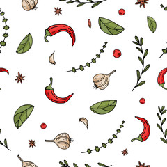Color seamless vector pattern of elements with hand drawn spice on a white background.