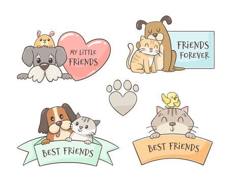 Set of cute labels of pets. Friendship concept. Best friends. Domestic animals. Hand drawn illustration.