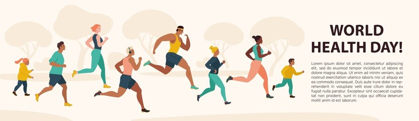 People Jogging Sport Family Fitness Run Training World Health Day 7 April Flat Vector Illustration.