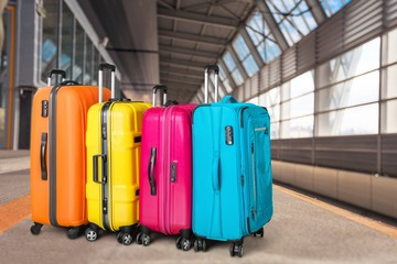 Luggage bags on background, travel concept