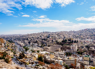Cityscape seen from Citadel Hill, Amman, Amman Governorate, Jordan