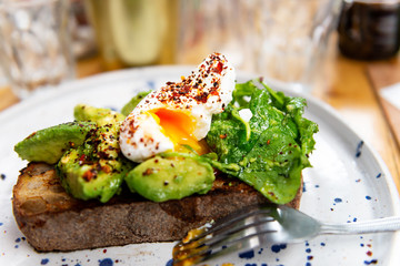 Toast with Avocado and Poached Egg, perfect and healthy breakfast