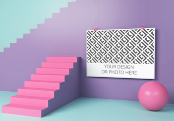 Horizontal Poster in a Geometric Scene Mockup