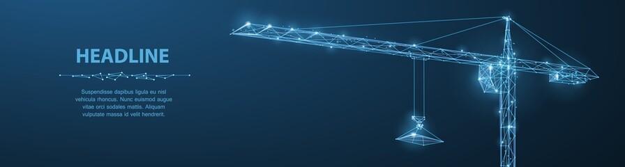 Crane. Abstract vector wireframe crane on dark blue background