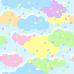 The sky with colored clouds and raindrops. Multicolored drops. Seamless texture.Textile design, wallpapers, backgrounds and prints, packaging. Eps10 Vector
