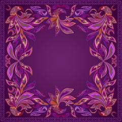 Ccolorful pinstriping bandana with paisley and birds. Vector print square.