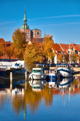 Historical houses and brick towers of Stralsund in Northern Germany