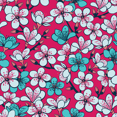 Vector red background with light grey and cyan cherry blossom sakura flowers and dark blue stems seamless pattern background.