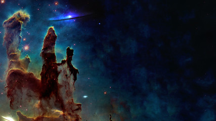 Foto auf AluDibond Nasa Somewhere in space near Pillars of creation. Science fiction. Elements of this image were furnished by NASA.