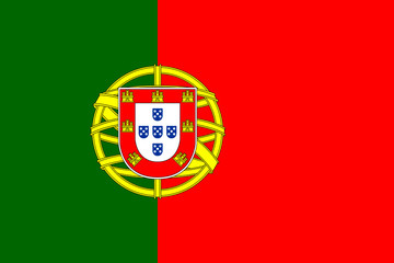 Flag of Portugal. Official colors. Correct proportion. Vector Fototapete