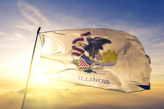 Illinois state of United States flag waving on the top sunrise mist fog
