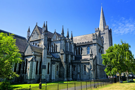 View of the historic St Patrick's Cathedral in Dublin, Ireland
