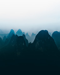 aerial view photography of mountain silhouette