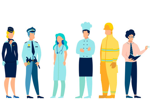 People of different professions. Doctor, fireman, teacher, stewardess, cook and policeman in uniform. In minimalist style. Cartoon flat Vector