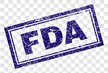 FDA stamp seal print with grainy style and double framed rectangle shape. Stamp is placed on a transparent background. Blue vector rubber print of FDA text with retro texture.