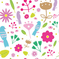 vector seamless pattern with colorful flowers and birds with white background