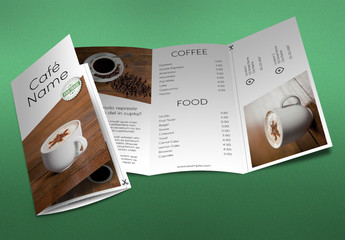 Trifold Brochure Layout with Coffee Theme